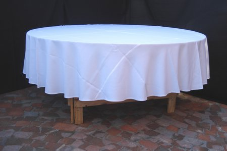 round white table cloth 3m shown on 10 seater table For10 Seater Table Cloth